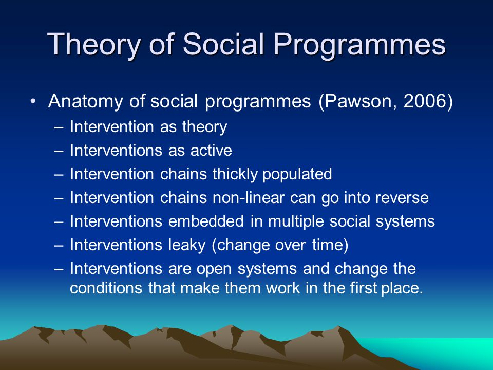 Theory of Social Programmes