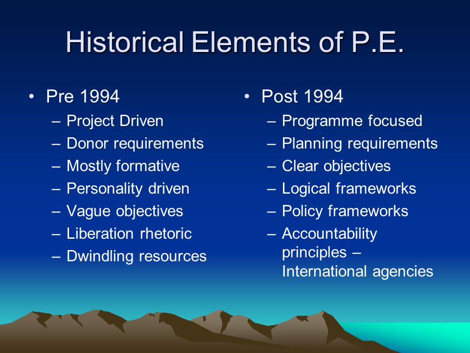 Historical Elements of P.E.