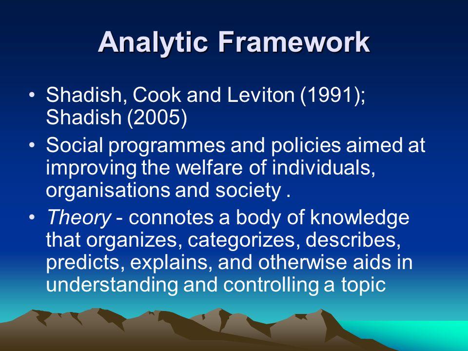 Analytic Framework Shadish, Cook and Leviton (1991); Shadish (2005)