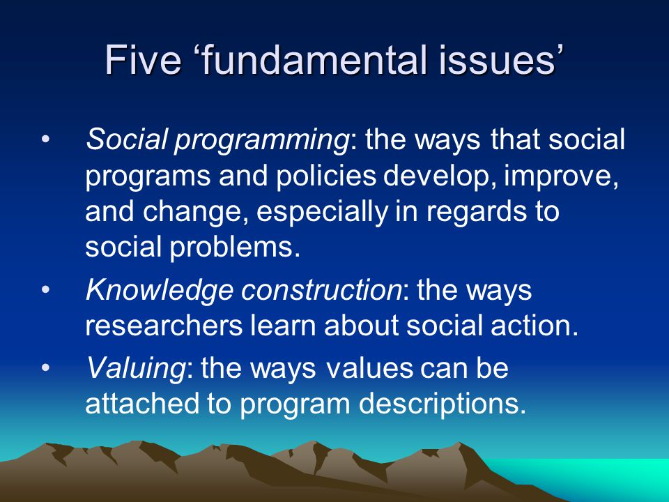 Five 'fundamental issues'