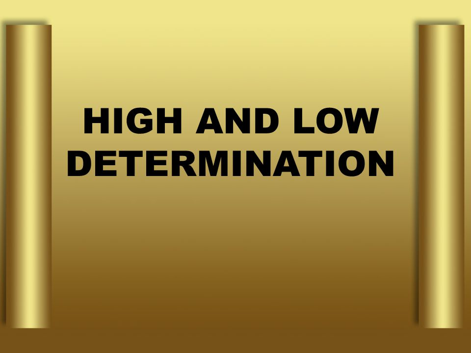 HIGH AND LOW DETERMINATION