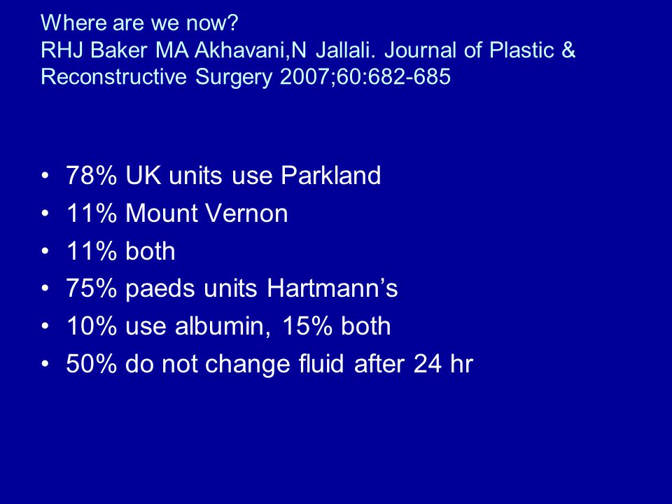 75% paeds units Hartmann's 10% use albumin, 15% both