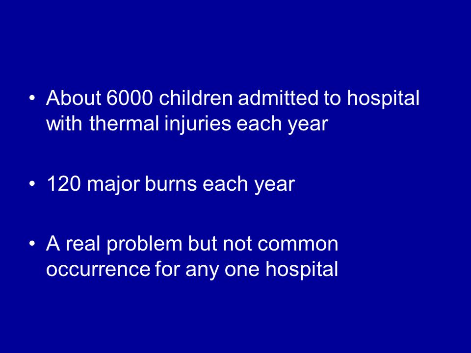 About 6000 children admitted to hospital with thermal injuries each year