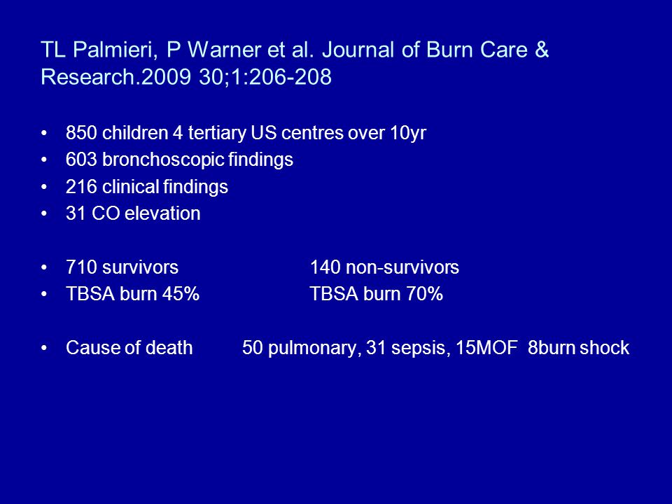 TL Palmieri, P Warner et al. Journal of Burn Care & Research