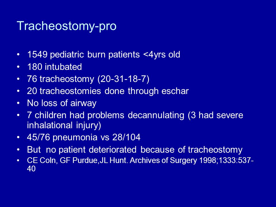 Tracheostomy-pro 1549 pediatric burn patients <4yrs old