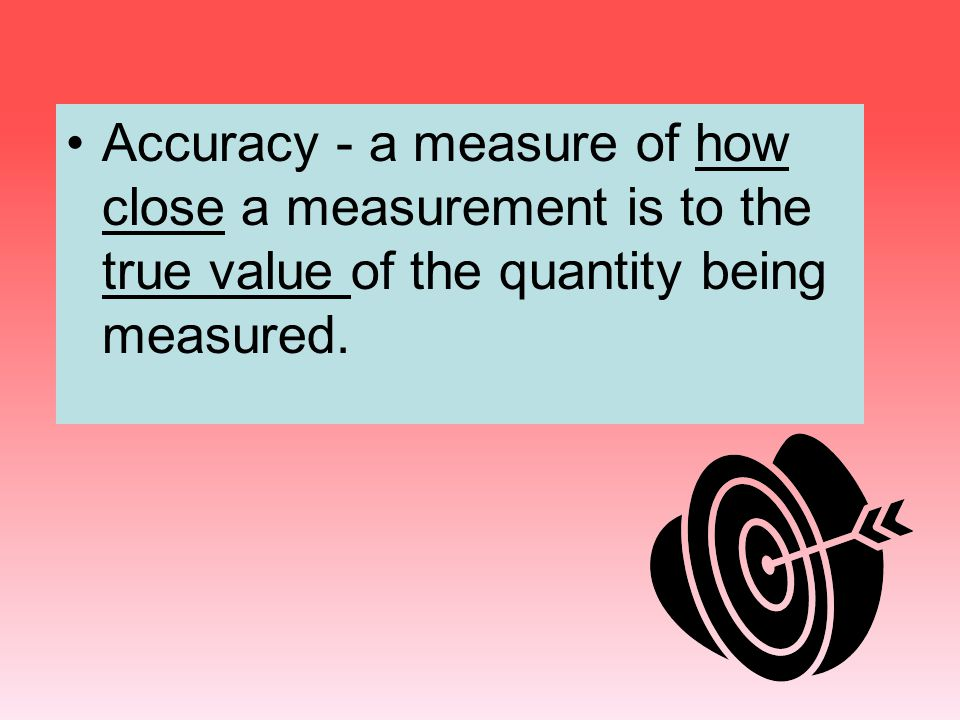 Accuracy - a measure of how close a measurement is to the true value of the quantity being measured.