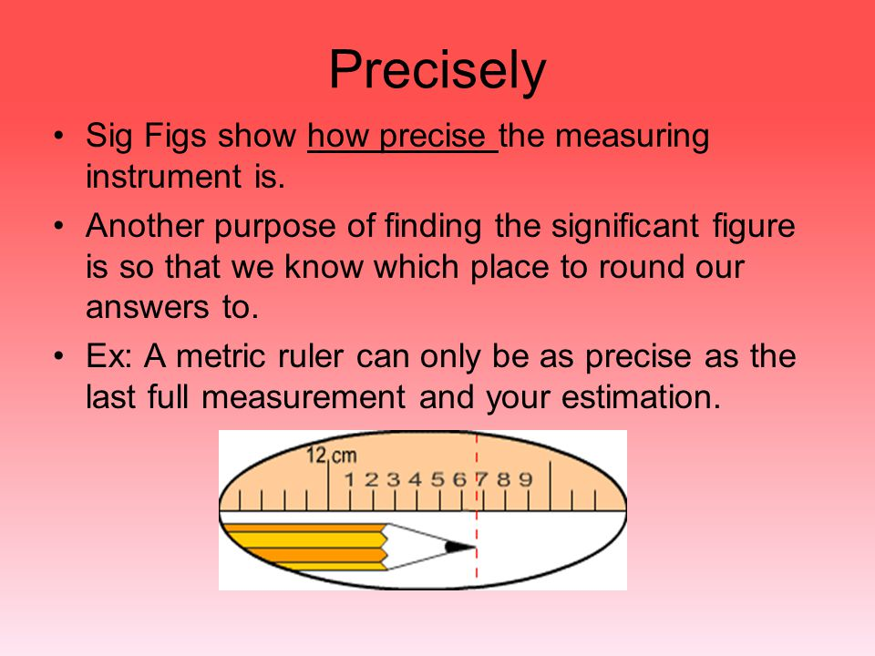 Precisely Sig Figs show how precise the measuring instrument is.