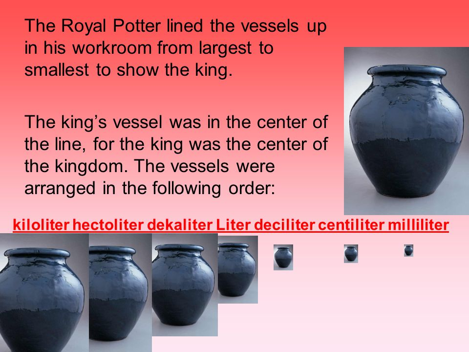 The Royal Potter lined the vessels up in his workroom from largest to smallest to show the king.
