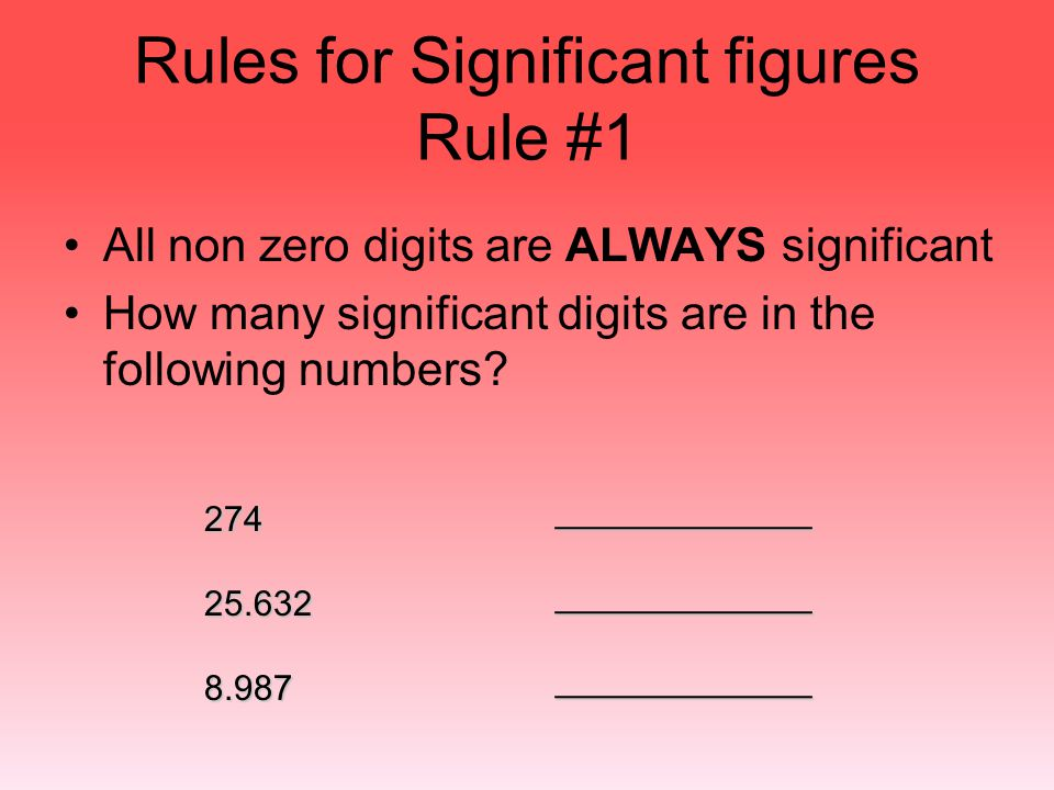 Rules for Significant figures Rule #1