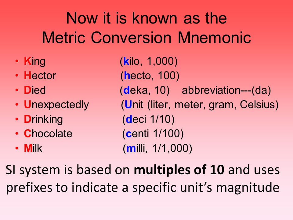 Now it is known as the Metric Conversion Mnemonic