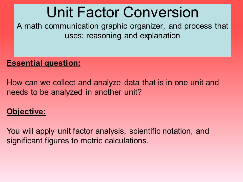 Unit Factor Conversion A math communication graphic organizer, and process that uses: reasoning and explanation