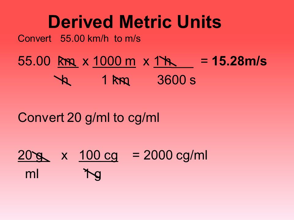Derived Metric Units Convert 55.00 km/h to m/s