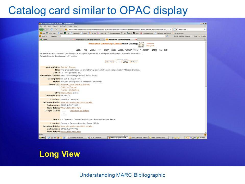 Catalog card similar to OPAC display