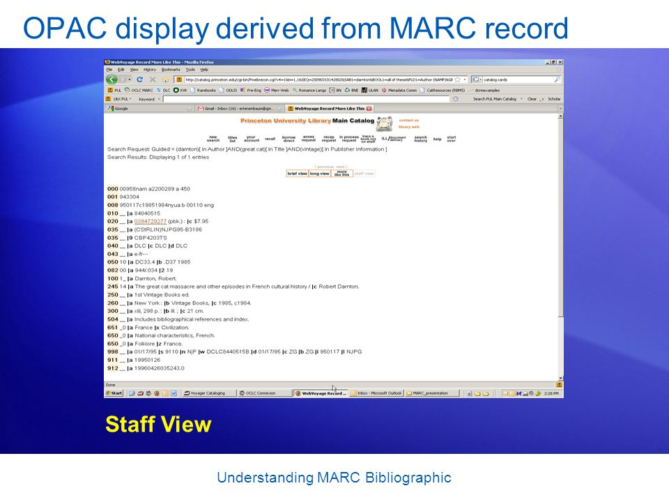 OPAC display derived from MARC record