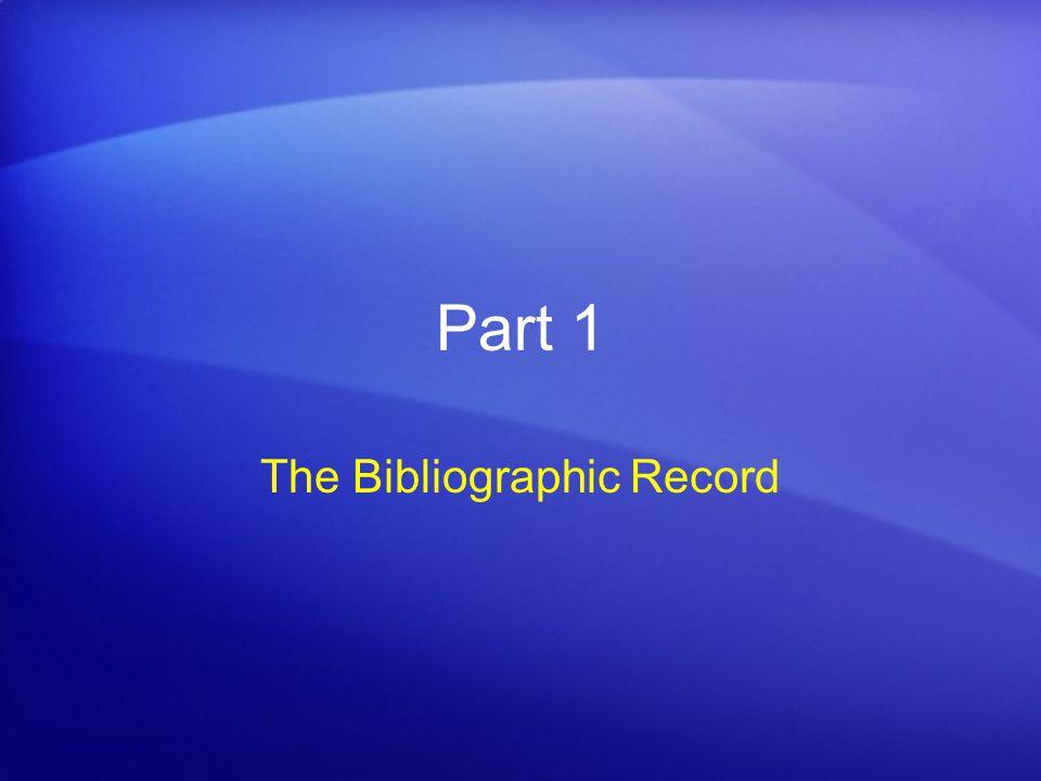 The Bibliographic Record