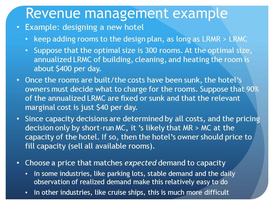 Revenue management example