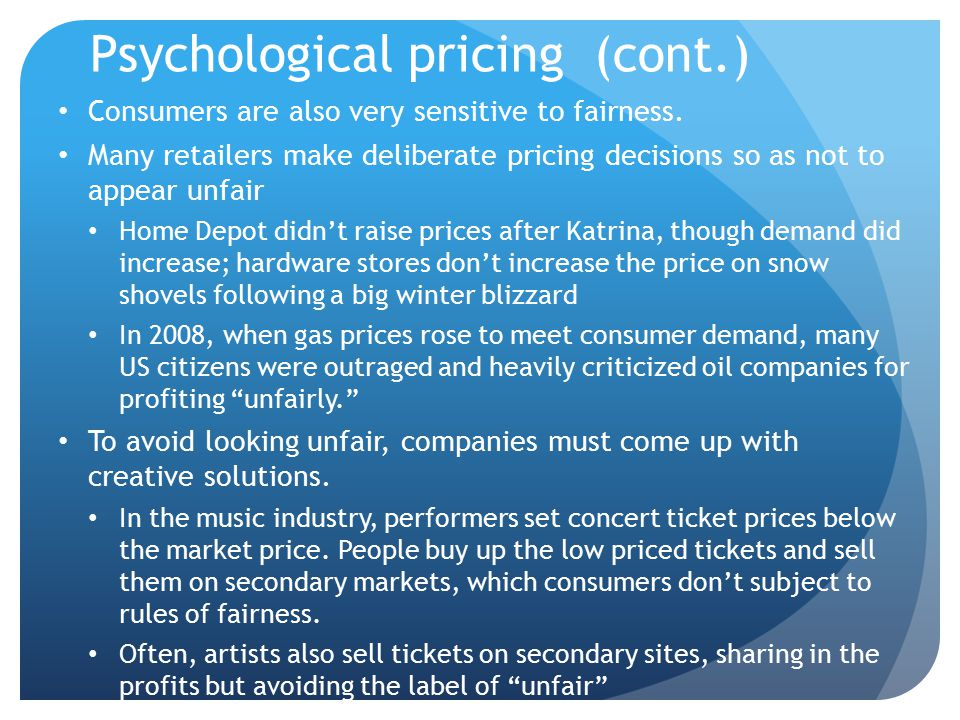 Psychological pricing (cont.)
