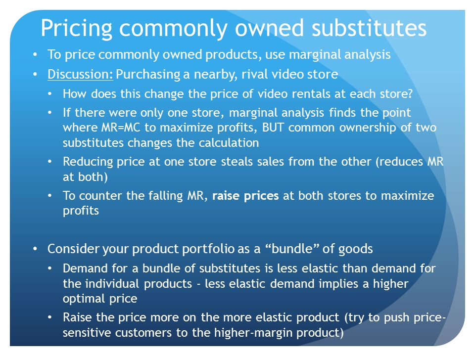 Pricing commonly owned substitutes
