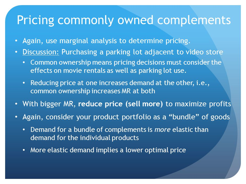 Pricing commonly owned complements