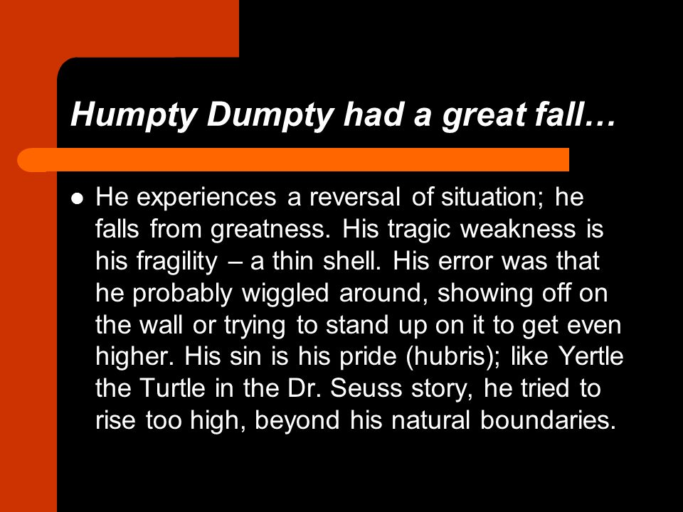 Humpty Dumpty had a great fall…