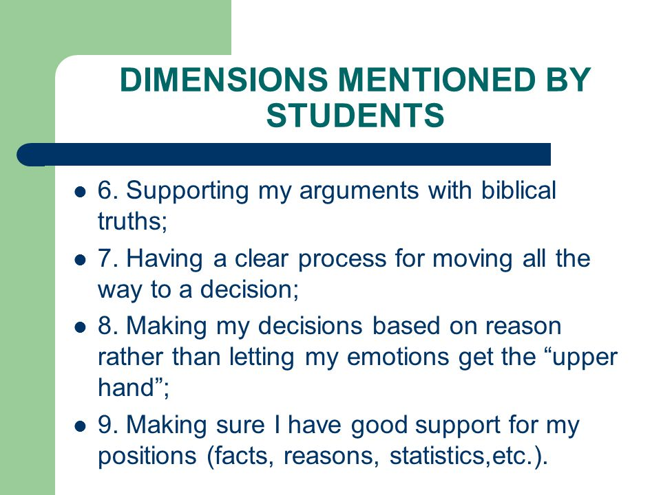 DIMENSIONS MENTIONED BY STUDENTS