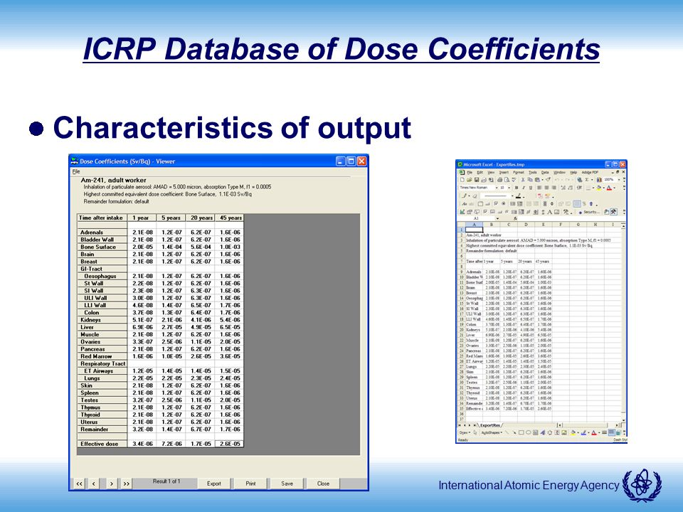 ICRP Database of Dose Coefficients