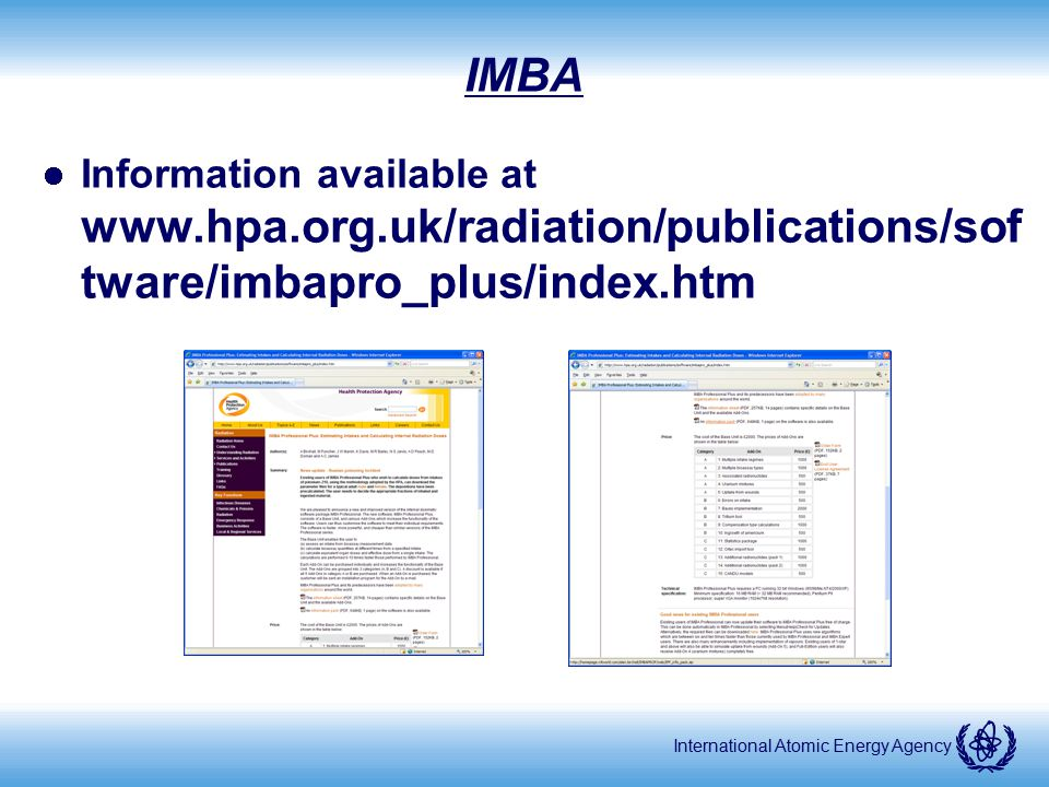 IMBA Information available at www.hpa.org.uk/radiation/publications/software/imbapro_plus/index.htm.