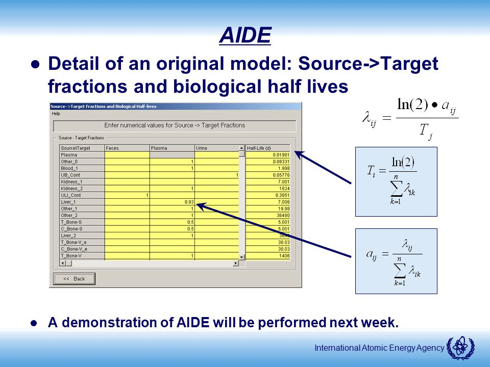 AIDE Detail of an original model: Source->Target fractions and biological half lives. A demonstration of AIDE will be performed next week.