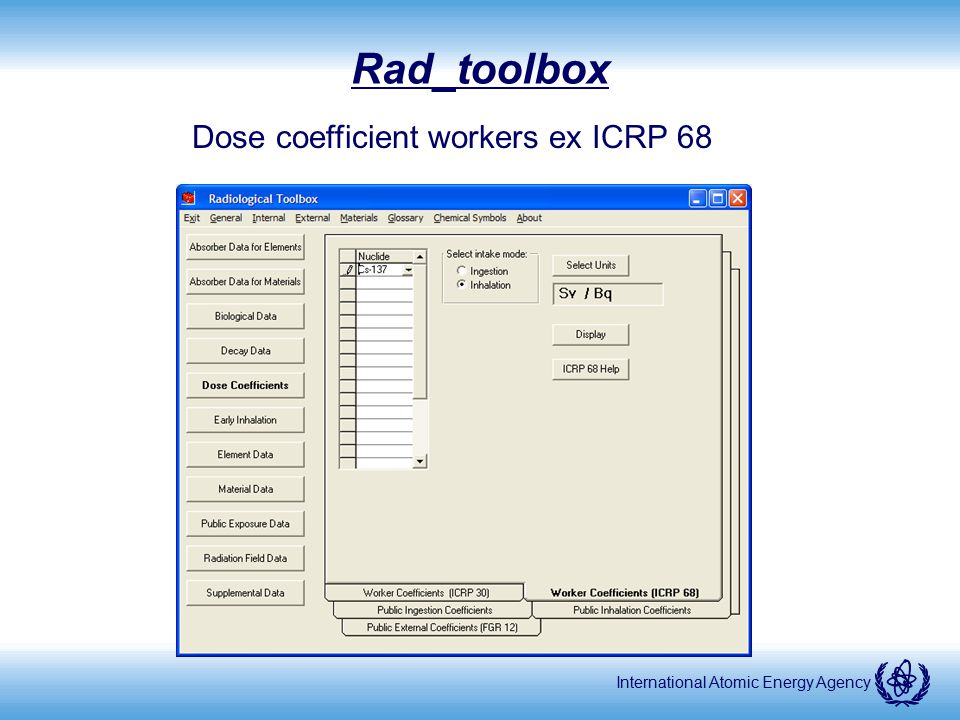 Dose coefficient workers ex ICRP 68