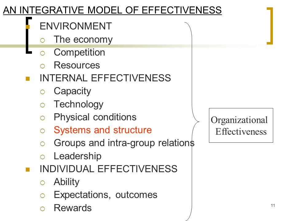 AN INTEGRATIVE MODEL OF EFFECTIVENESS