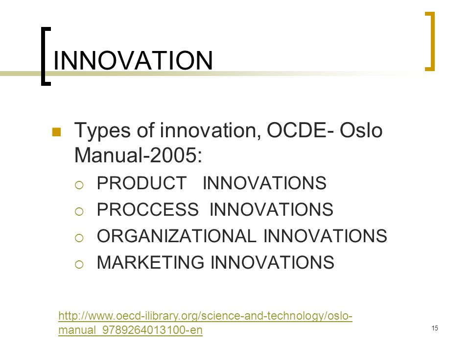 INNOVATION Types of innovation, OCDE- Oslo Manual-2005: