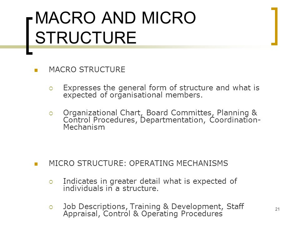 MACRO AND MICRO STRUCTURE