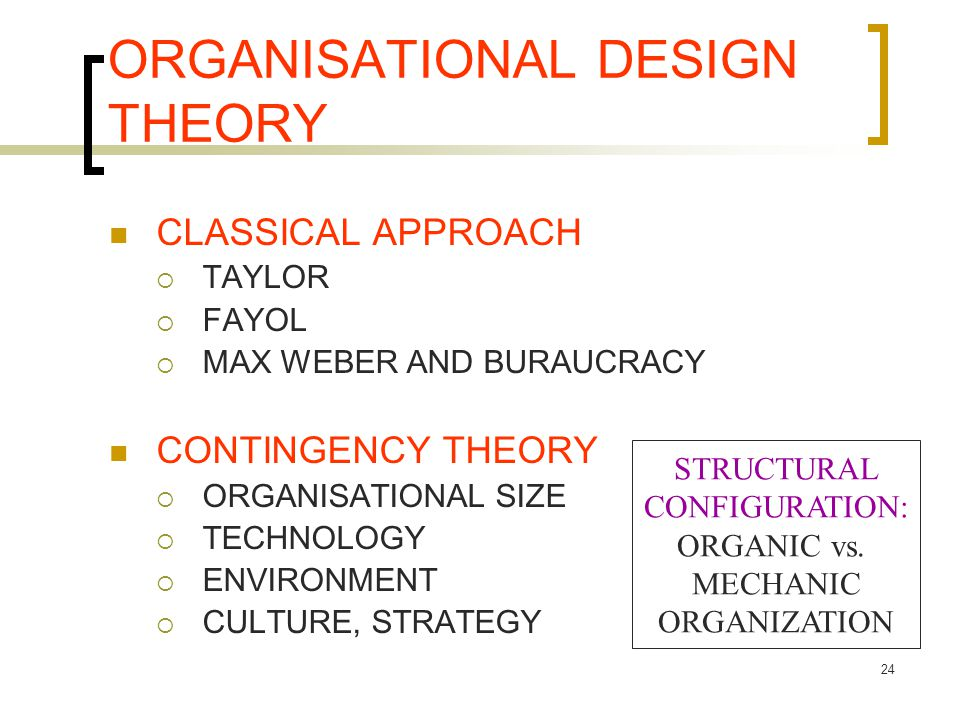 ORGANISATIONAL DESIGN THEORY