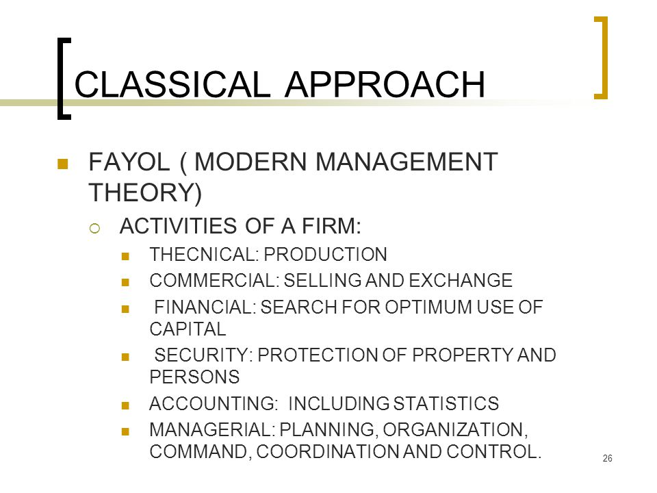 CLASSICAL APPROACH FAYOL ( MODERN MANAGEMENT THEORY)