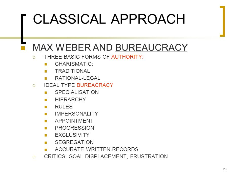 CLASSICAL APPROACH MAX WEBER AND BUREAUCRACY