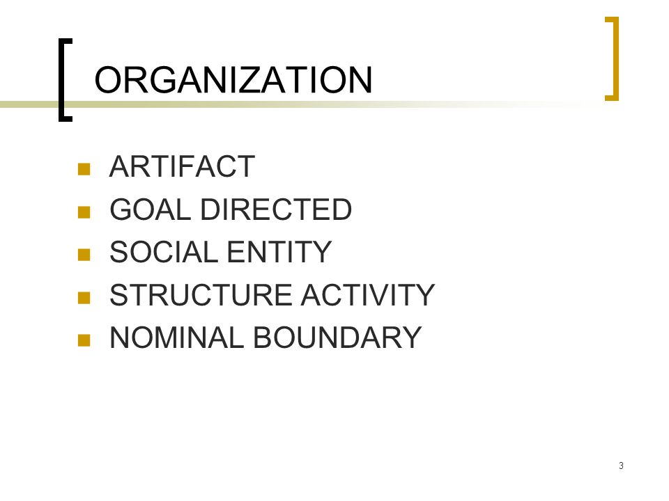 ORGANIZATION ARTIFACT GOAL DIRECTED SOCIAL ENTITY STRUCTURE ACTIVITY