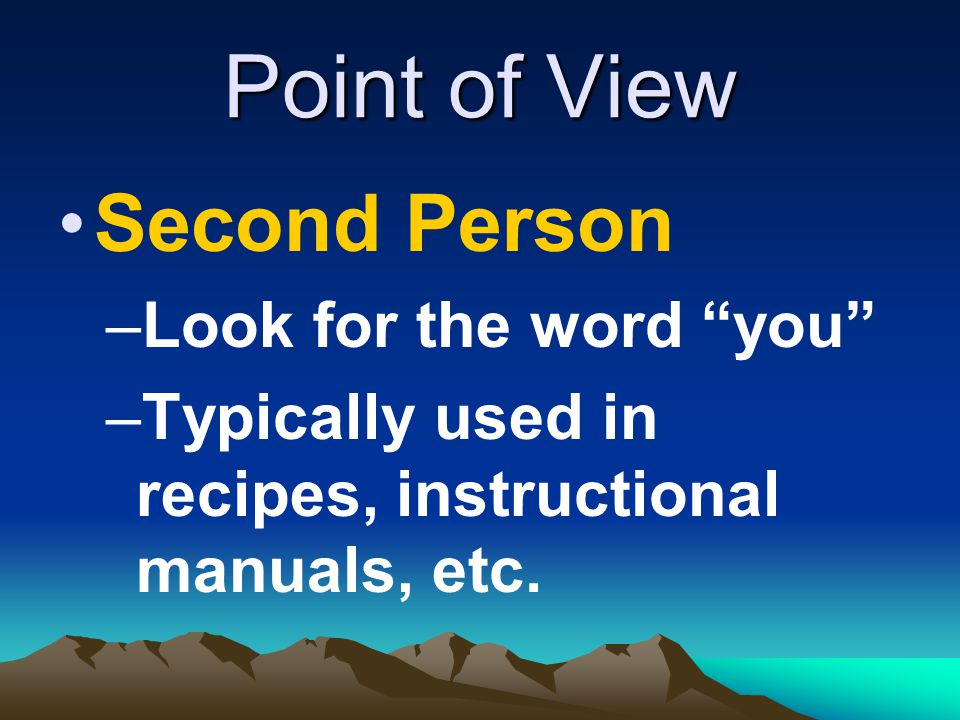 Point of View Second Person Look for the word you