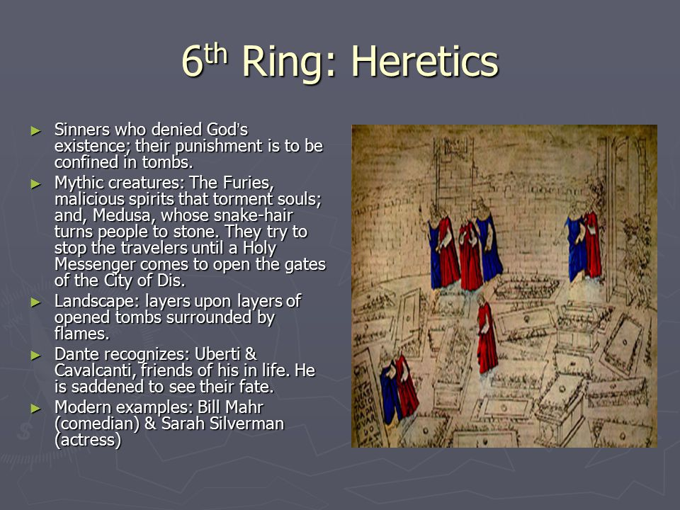 6th Ring: Heretics Sinners who denied God's existence; their punishment is to be confined in tombs.