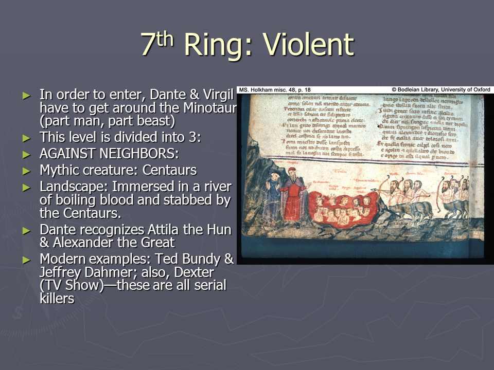 7th Ring: Violent In order to enter, Dante & Virgil have to get around the Minotaur (part man, part beast)