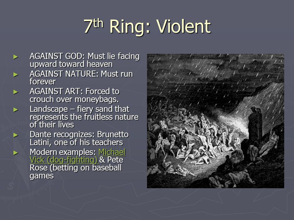 7th Ring: Violent AGAINST GOD: Must lie facing upward toward heaven