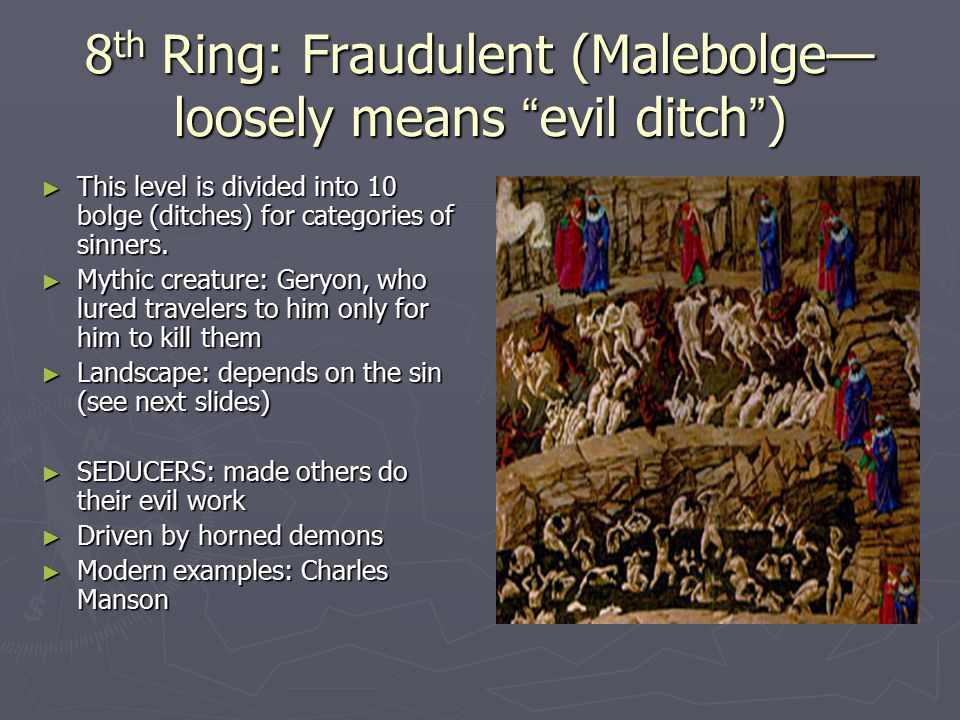 8th Ring: Fraudulent (Malebolge—loosely means evil ditch )