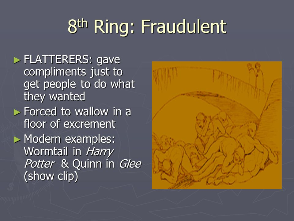 8th Ring: Fraudulent FLATTERERS: gave compliments just to get people to do what they wanted. Forced to wallow in a floor of excrement.