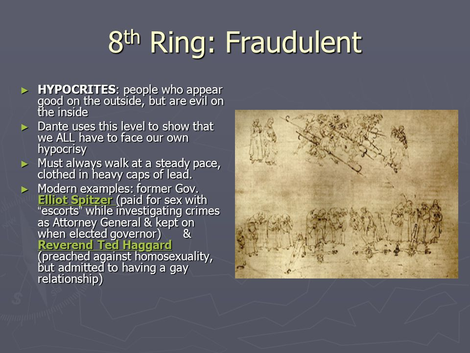 8th Ring: Fraudulent HYPOCRITES: people who appear good on the outside, but are evil on the inside.