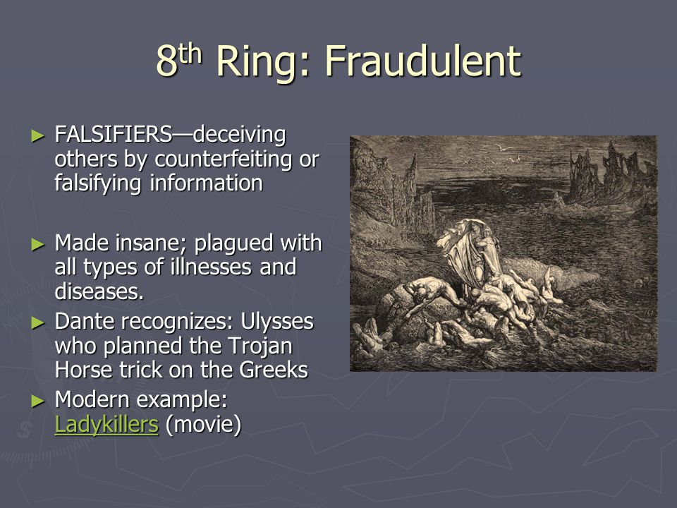 8th Ring: Fraudulent FALSIFIERS—deceiving others by counterfeiting or falsifying information.