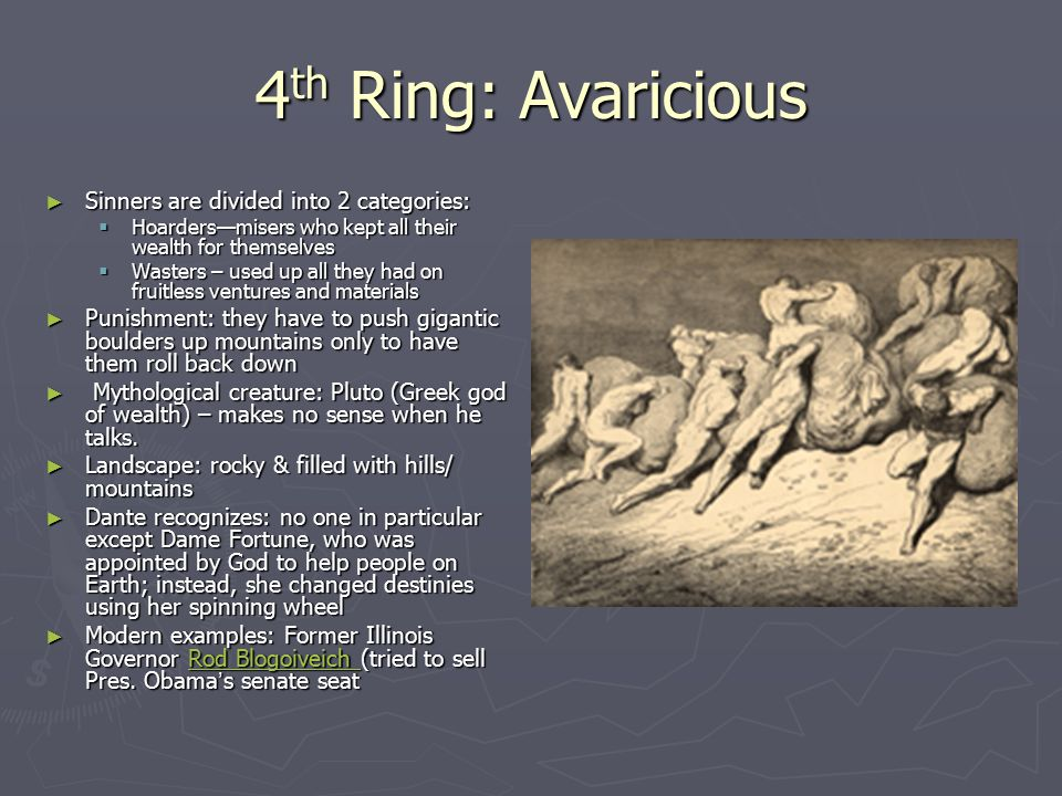 4th Ring: Avaricious Sinners are divided into 2 categories: