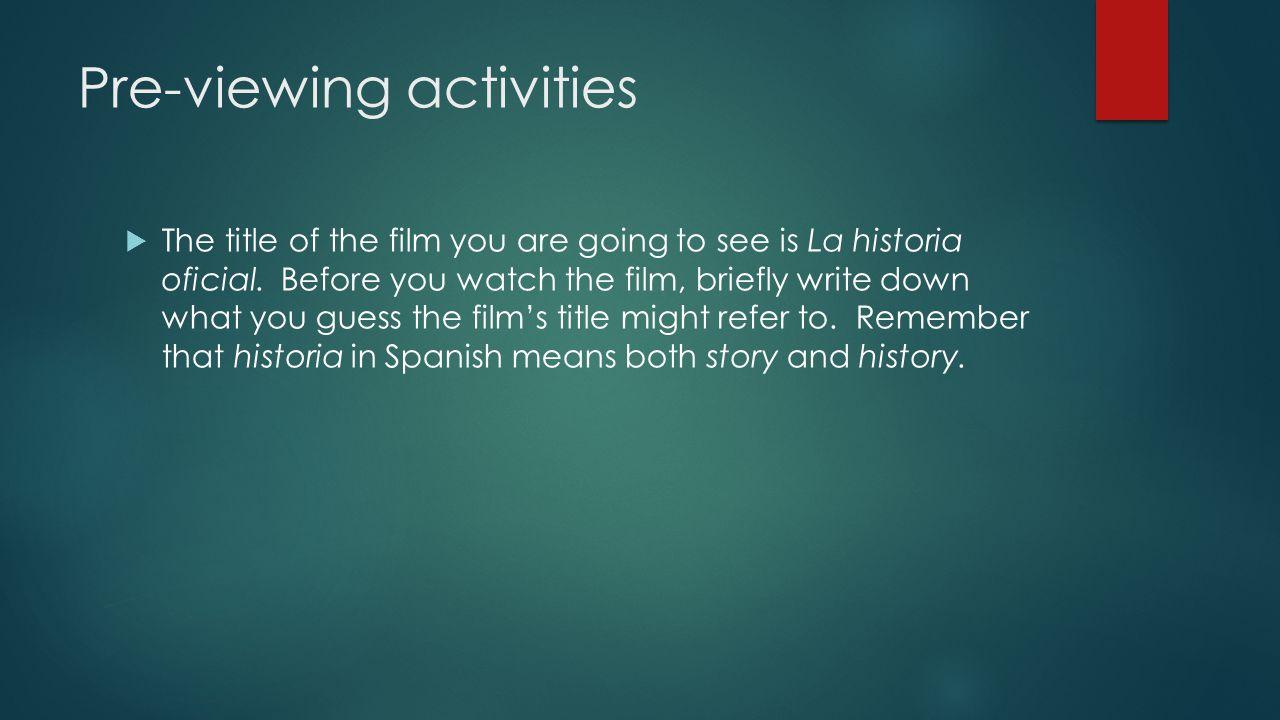 Pre-viewing activities
