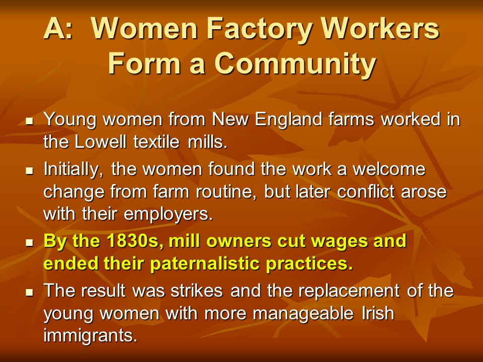 A: Women Factory Workers Form a Community