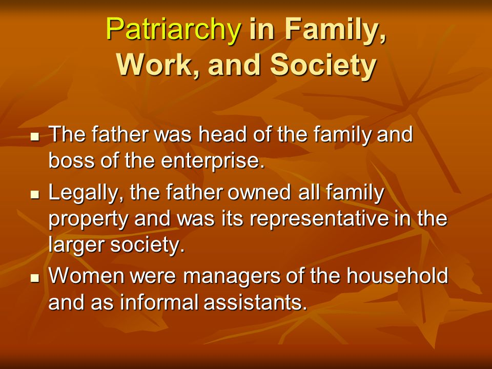 Patriarchy in Family, Work, and Society