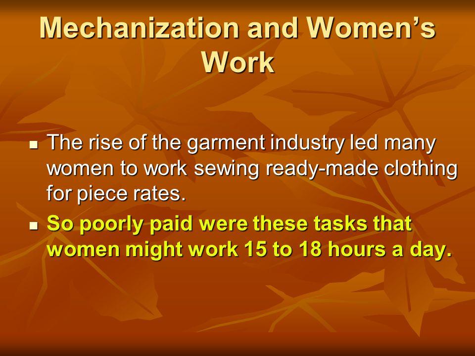 Mechanization and Women's Work