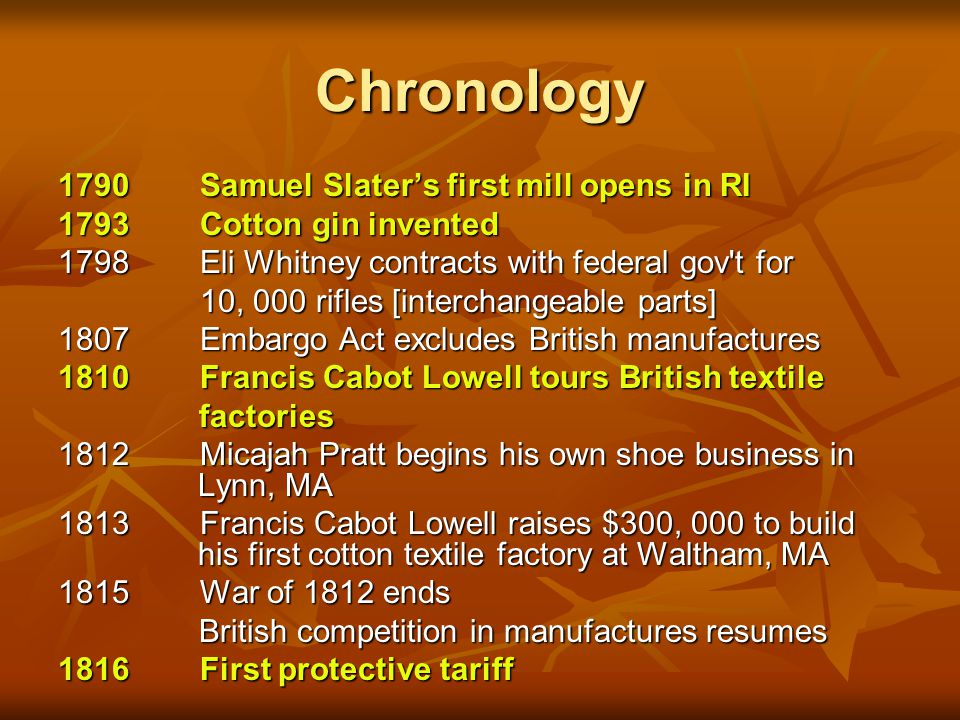Chronology 1790 Samuel Slater's first mill opens in RI